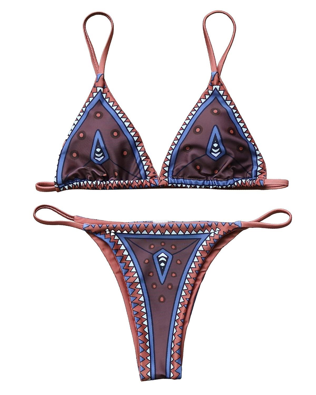 mooskiniレディースファッションセクシーホルターネックパッド入りビキニセットtwo-pieces水着Bathing Suit B073TX4HL6 Medium ブラウン
