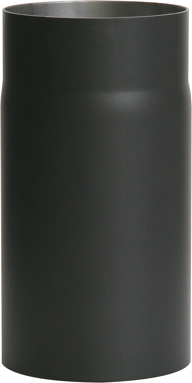 Kamino - Flam – Tubo para chimenea y Estufa de leña, Conducto de humos, Tubo vitrificado – resistente a altas temperaturas – EN 1856 – 2 – Negro, Ø 130 mm/longitud 250 mm