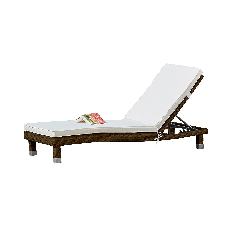 Garden Life Rattan Sun Lounger Outdoor Garden Furniture Folding Reclining Chair for Relaxing & Sunbathing (1, Brown) Clifford James