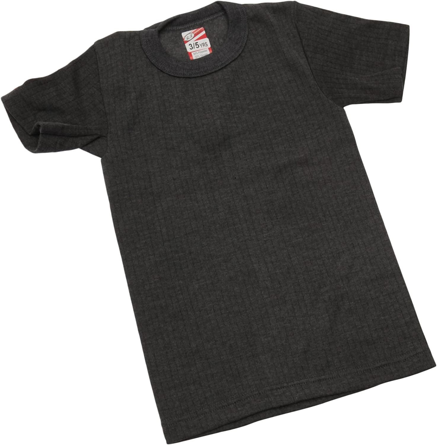 Charcoal Universal Textiles Boys Thermal Clothing Short Sleeved T Shirt Polyviscose Range Age 3-5 Chest: 20-22inch British Made