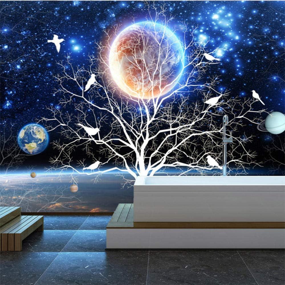 Papier peint intiss/é 150x105 cm 3 Strips Ciel /étoil/é bleu et arbre de vie Papier peint photo D/écoration trompe loeil Murale Poster Tableaux Muraux 3D Art mural Moderne D/écoration