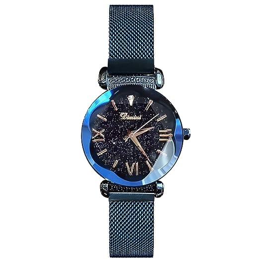 RORIOS Moda Mujer/Niña Relojes de Pulsera Cielo Estrellado Magnética Mesh Band Relojes de Mujer Impermeable: Amazon.es: Relojes