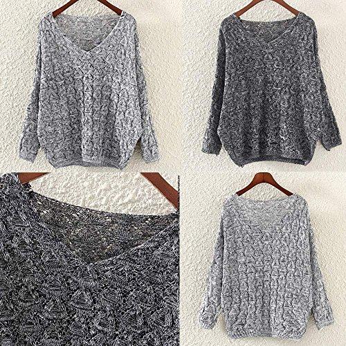 Women's Sweater, Women's Hollow Out Bat Long Sleeve Loose V Collar Sweater (Dark Gray, Free) by SOUND JUNKU (Image #5)
