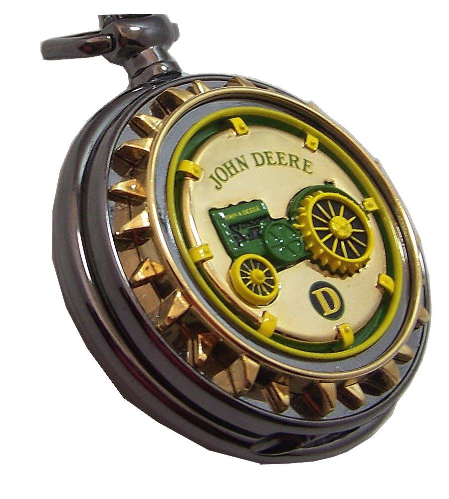 John Deere Model D Tractor Pocket Watch Franklin MInt Collectible Pocketwatch