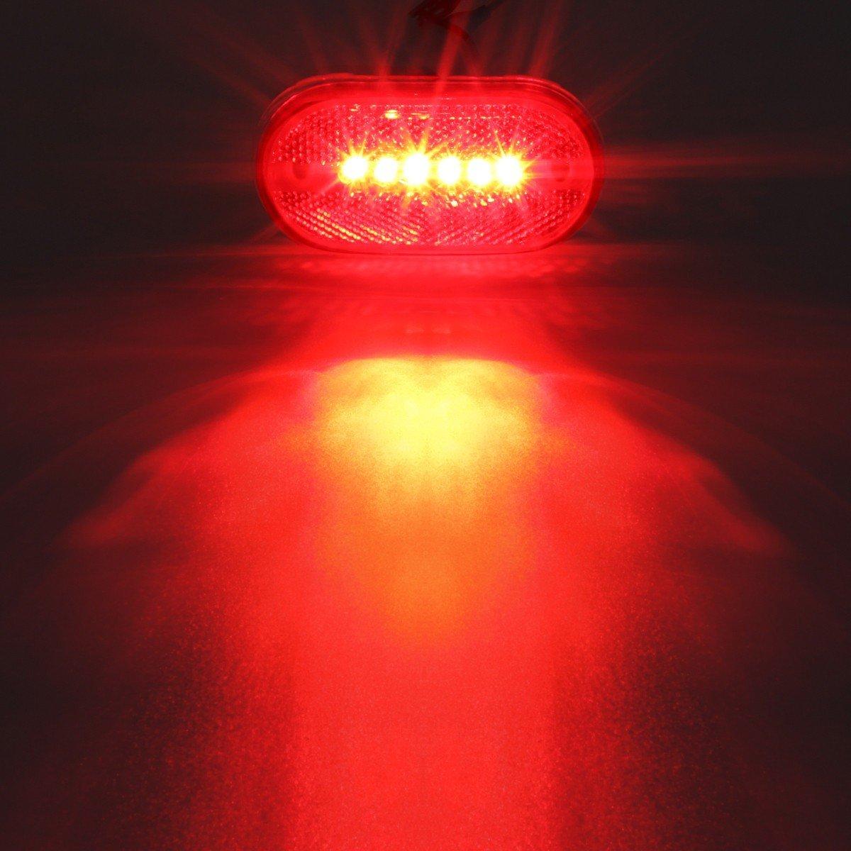 7 Red /& 5 Amber Sealed Surface Mount 2x4 Oblong RV Camper Led Marker Lights 6LED Partsam Rectangle Rectangular 4 x 2 Led Trailer Clearance Side Marker Lights with Reflex Lens