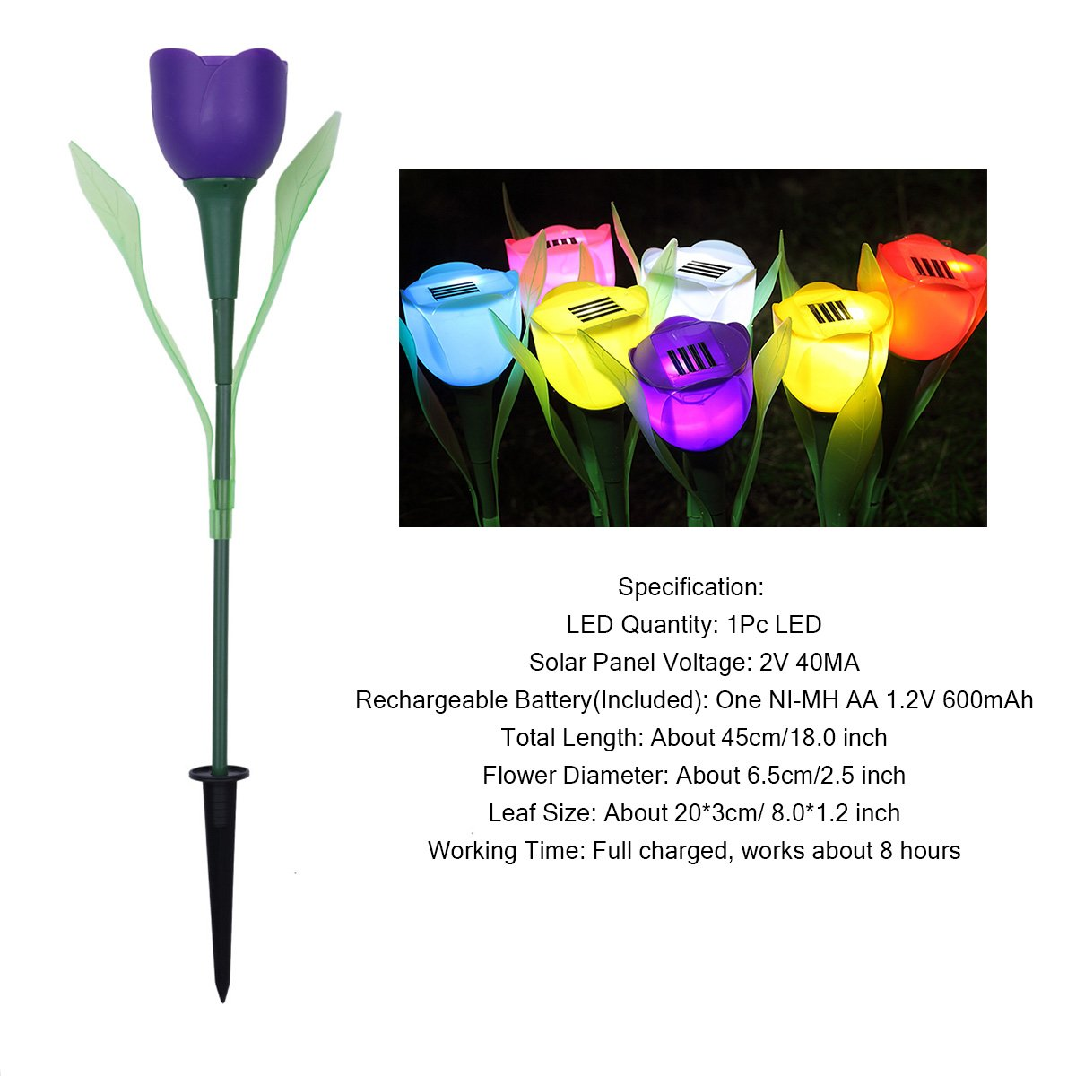 CHICTRY Tulip Path Light Solar Powered LED Light Outdoor Yard Garden Lawn Path Way Stake Lights Decorative Landscape LED Lamp Purple One Size