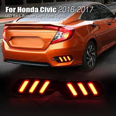 Allinoneparts LED Back Bumper Light Rear Lights Lamp Kit for Honda Civic 10th 2016-2020 (not fit the Hatchback): Automotive