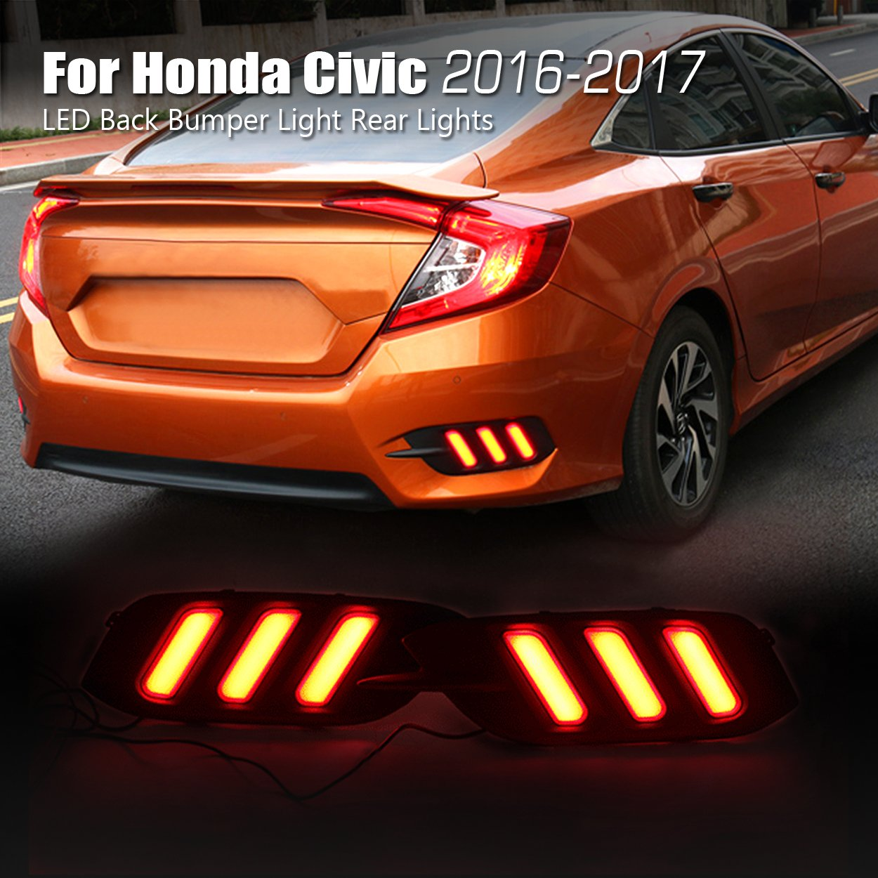 Allinoneparts Honda Civic 10th 2016 2017 2018 Led Back Taillight Wiring Harness Chevy Avalanche Bumper Light Rear Lights Lamp Kit Not Fit The Hatchback Automotive