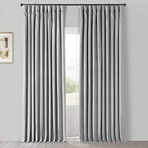 HPD Half Price Drapes VPCH-VET160401-84 Signature Extra Wide Blackout Velvet Curtain (1 Panel), 100 X 84, Reflection Grey