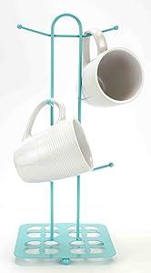 Home Basics Trinity Collection Pantryware Organization Set, Turquoise (Mug Tree)