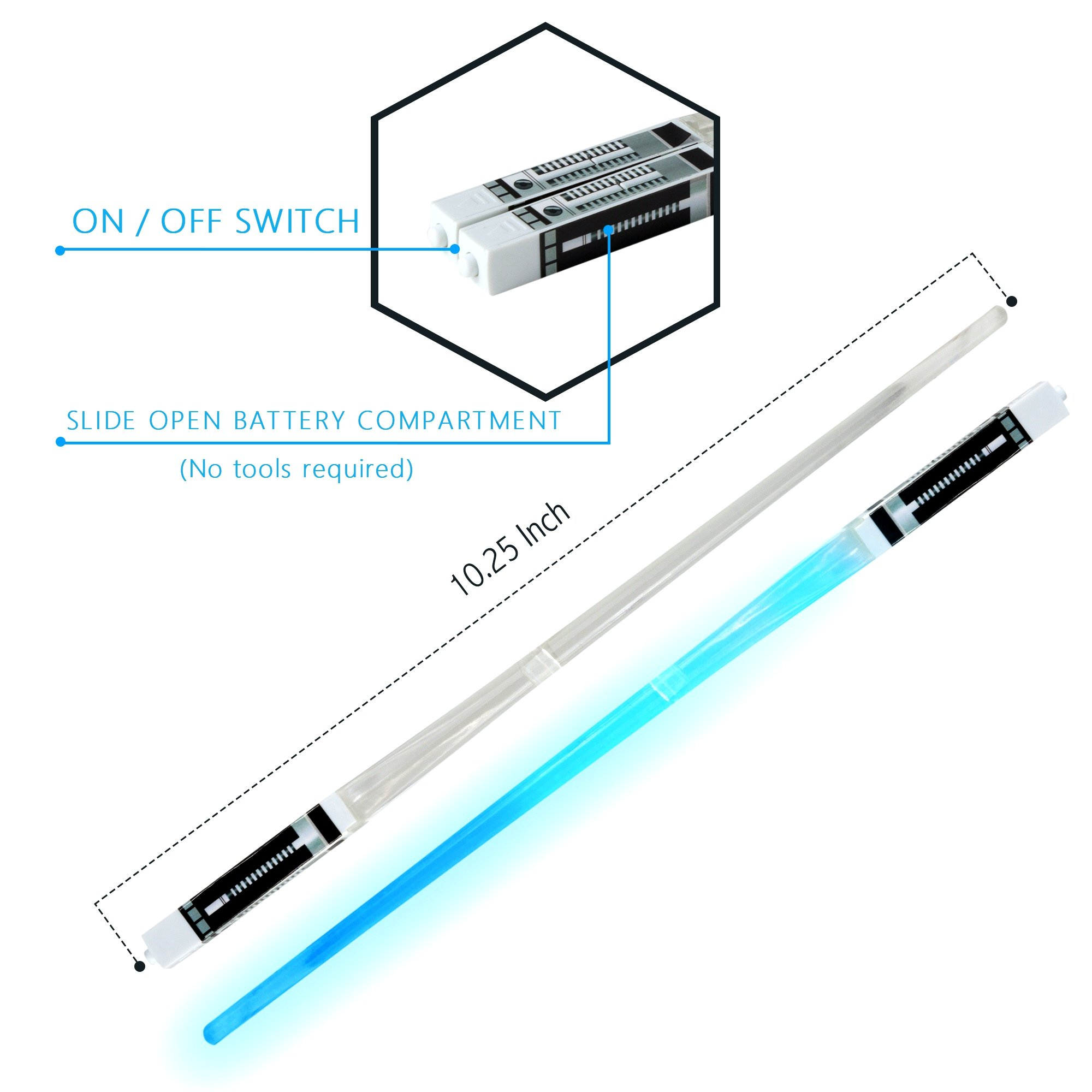 Lightsaber Light up LED Chopsticks Multi function for Star Wars Theme Party Fun for Gift Set [4 PAIR – RED/BLUE / GREEN/PURPLE SET] by Luxxis (Image #2)