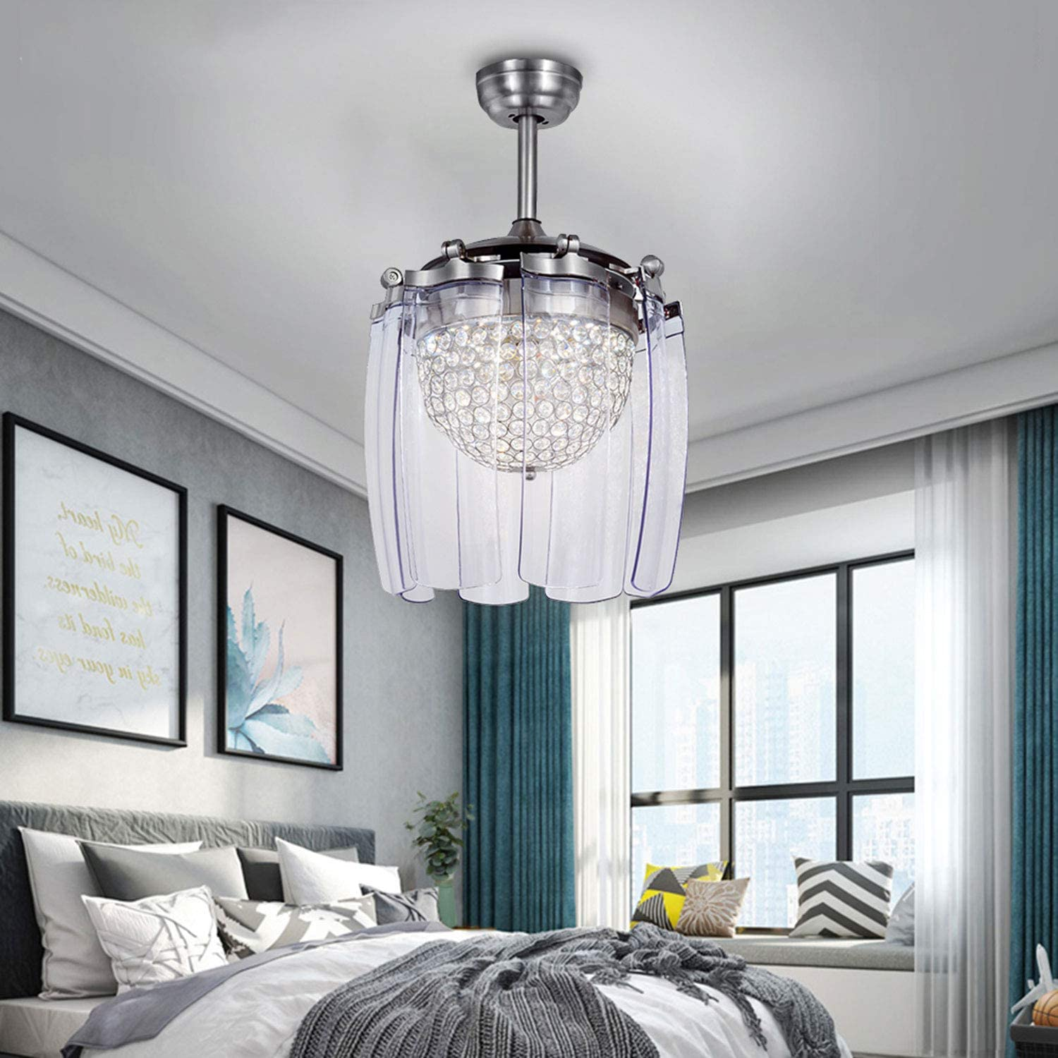 Tropicalfan Crystal Retractable Ceiling Fan With Remote Control LED Home Decoration Dinner Room Bedroom Silent Modern Fans Chandelier 8 Acrylic Invisible Blades 42 Inch