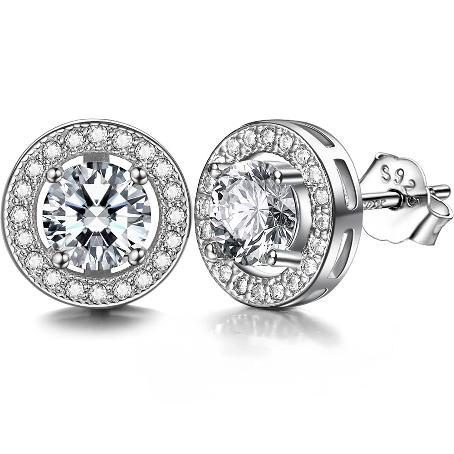 78017e0b0 Amazon.com: ZENI 925 Silver Women Stud Earrings set 18K White Gold Plated  with 3A 6mm Cubic Zirconia Cushion Shape Halo 1 carats: Jewelry