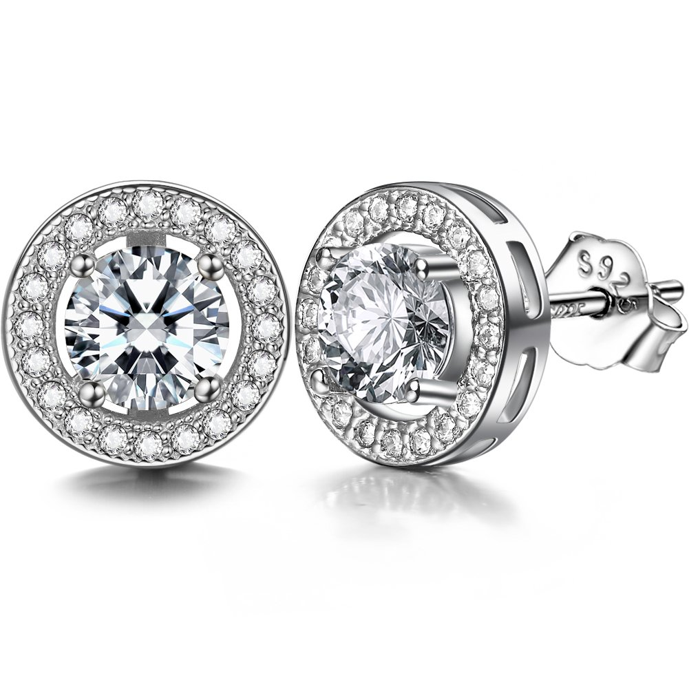 ZENI 925 Silver Women Stud Earrings set 18K White Gold Plated with 3A 6mm Cubic Zirconia Cushion Shape Halo 1 carats