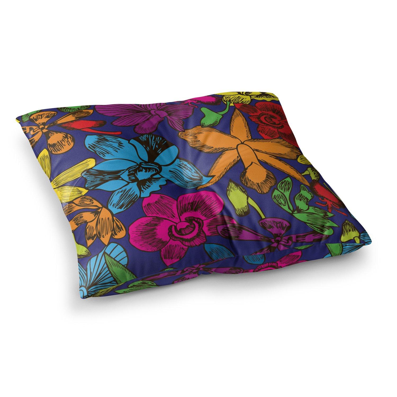 Kess InHouse Yenty Jap Lovely Orchids Multicolor Floral 26 x 26 Square Floor Pillow