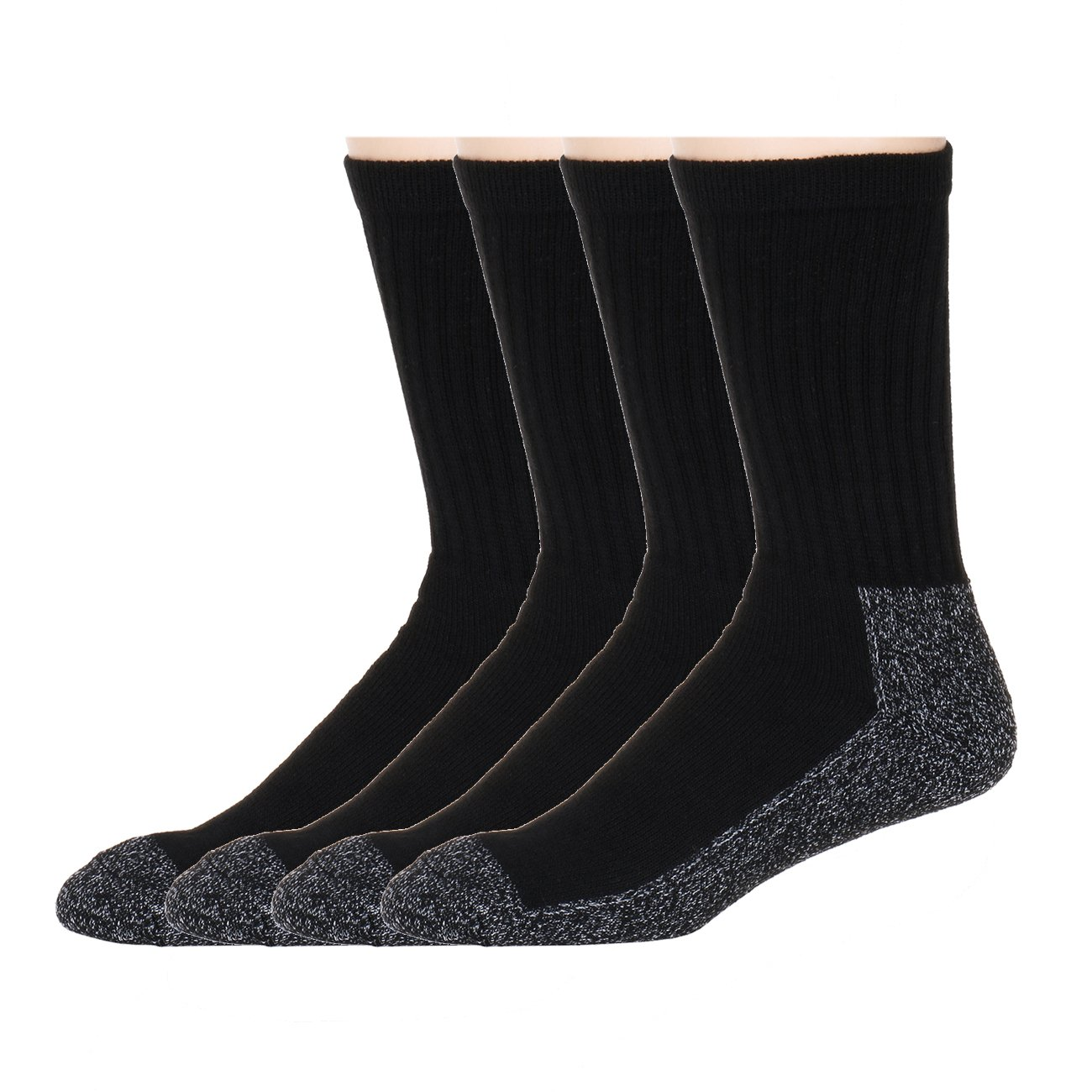 Heavy Duty Black Reinforced Crew - American Sport Men's Socks 4 pair pack NC-855