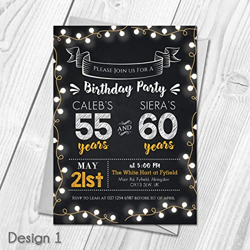Personalised Joint Adult Birthday Party Invitations Thank You Cards