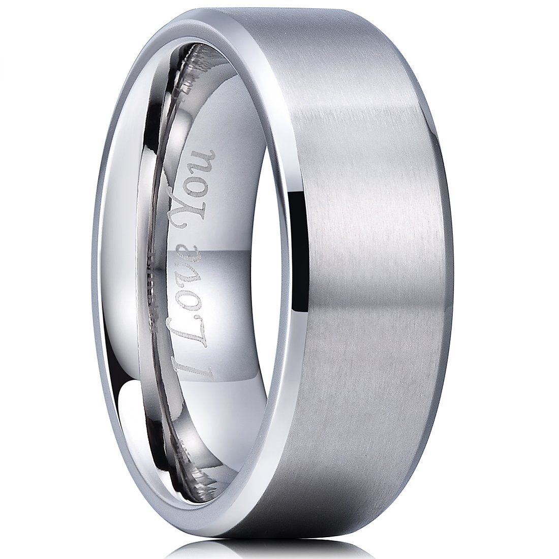 King Will Basic 8mm Stainless Steel Ring Matte Finish & Polished Beveled Edge with Laser Etched I Love You9.5