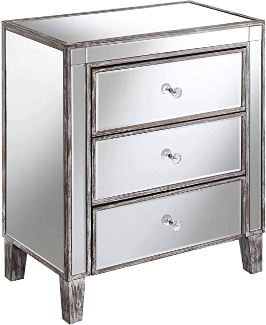 Slate Grey Large 3 Drawer Bedside Table Cabinet Painted Nightstand