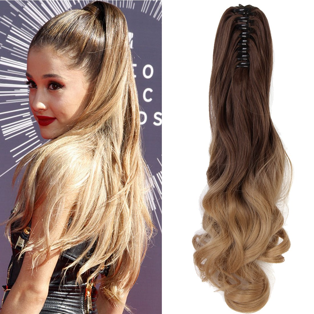 """Neverland Beauty 20""""(50cm) Ombre Two Tone Long Big Wavy Claw Curly Ponytail Clip in Hair Extensions 8#/25#(Medium Brown to Ash Blonde)"""