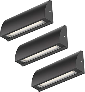 ledscom.de LED lámpara de Pared Segin lámpara de Escalera para Interior y Exterior, Plano, Aufbau, Negro, Blanca cálida, 400lm, 3 UDS: Amazon.es: Electrónica
