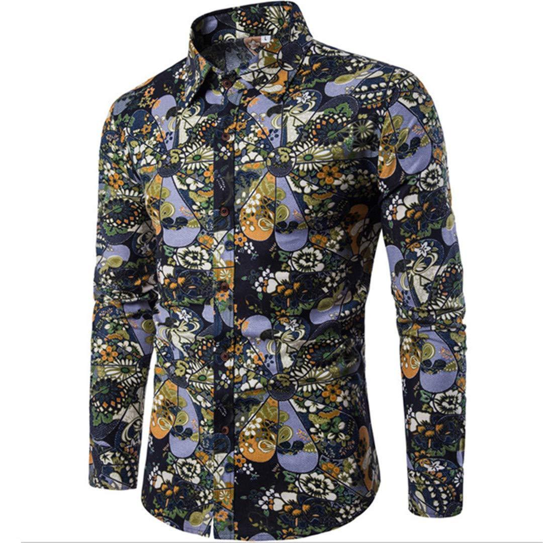 Flower Printed Long Sleeve Shirts Men Clothes Male Slim Flower Shirts Vintage Casual Clothing Shirt