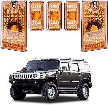 5Pcs Amber Roof Cab Marker Clearance LED Bulbs Lights Fit 2003-2009 Hummer H2