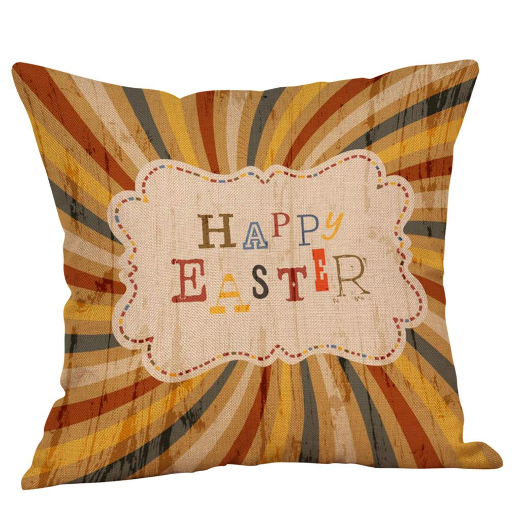 Weiliru Throw Pillow Covers Easter Motive Bunny Bottom Easter Easter Eggs Fresh Decor Pillowcases Polyester Square Hidden Zipper Home Cushion Decorative Pillowcase