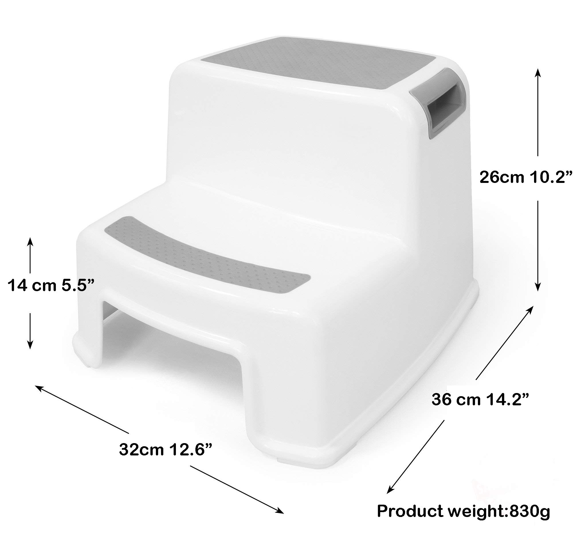 Step Stool for Kids by WonderVelt - (2 Pack) Toddlers White Dual Height Stool for Bathroom Toilet Training & Kitchen use- Handles, 2 Wide Steps with Soft Grip & Thick Rubber feet for Baby Skid Safety