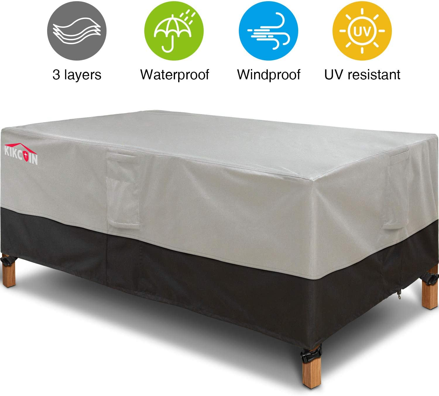 600D Extra Wide Outdoor Furniture Covers 84 Wx 44 Dx 23 H with 4 Air Vents Patio Table Cover Heavy Duty Waterproof Black and Grey Rectangular Outdoor Table Cover for All Weather