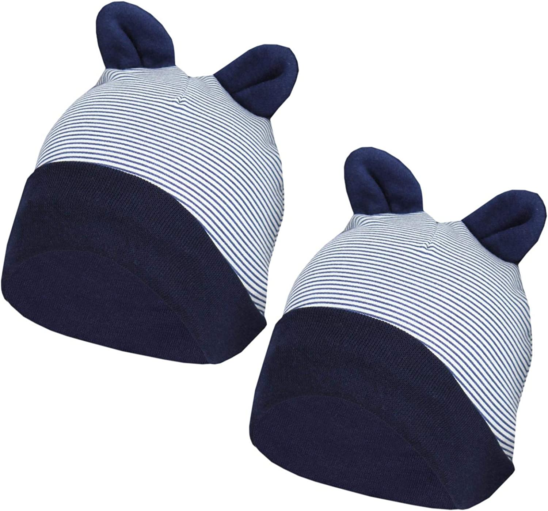 TupTam Gorro de Bebé con Orejas, Paquete de 2, Rayas Azul Oscuro 2 ...