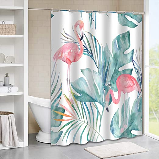 Designer Upholstery Curtain Fabric Vintage Flamingo Tropical Linen Material