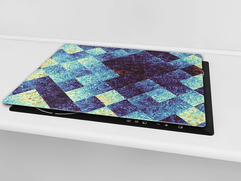 Planche /à d/écouper en verre tremp/é 30x52 cm chacune ou DEUX PI/ÈCES Couvre-cuisini/ère et prot/ège-plain de travail en verre r/ésistant ; D14 Patrons et Mandalas: Mar UNE PI/ÈCE 60x52 cm