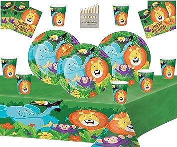 Artículos para la Fiesta en el Safari de la Selva Kit de cumpleaños con Tema Forestal para 32 Platos de Animales de la Selva Copas Servilletas Mantel