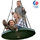 "Super Duper Spinner Swing, FUN 40"" Safe Solid Seat. Swing Set or Tree. Holds 650 lbs. Includes a 10 ft. Tree Swing Hanging Kit, Fully Assembled."