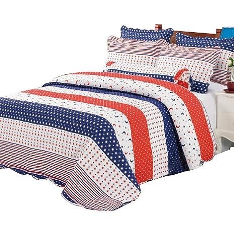 Alicemall Colcha de algodón acolchado remiendo Juego de cama Manta solo lecho del juego de sala Manta Azul Rojo