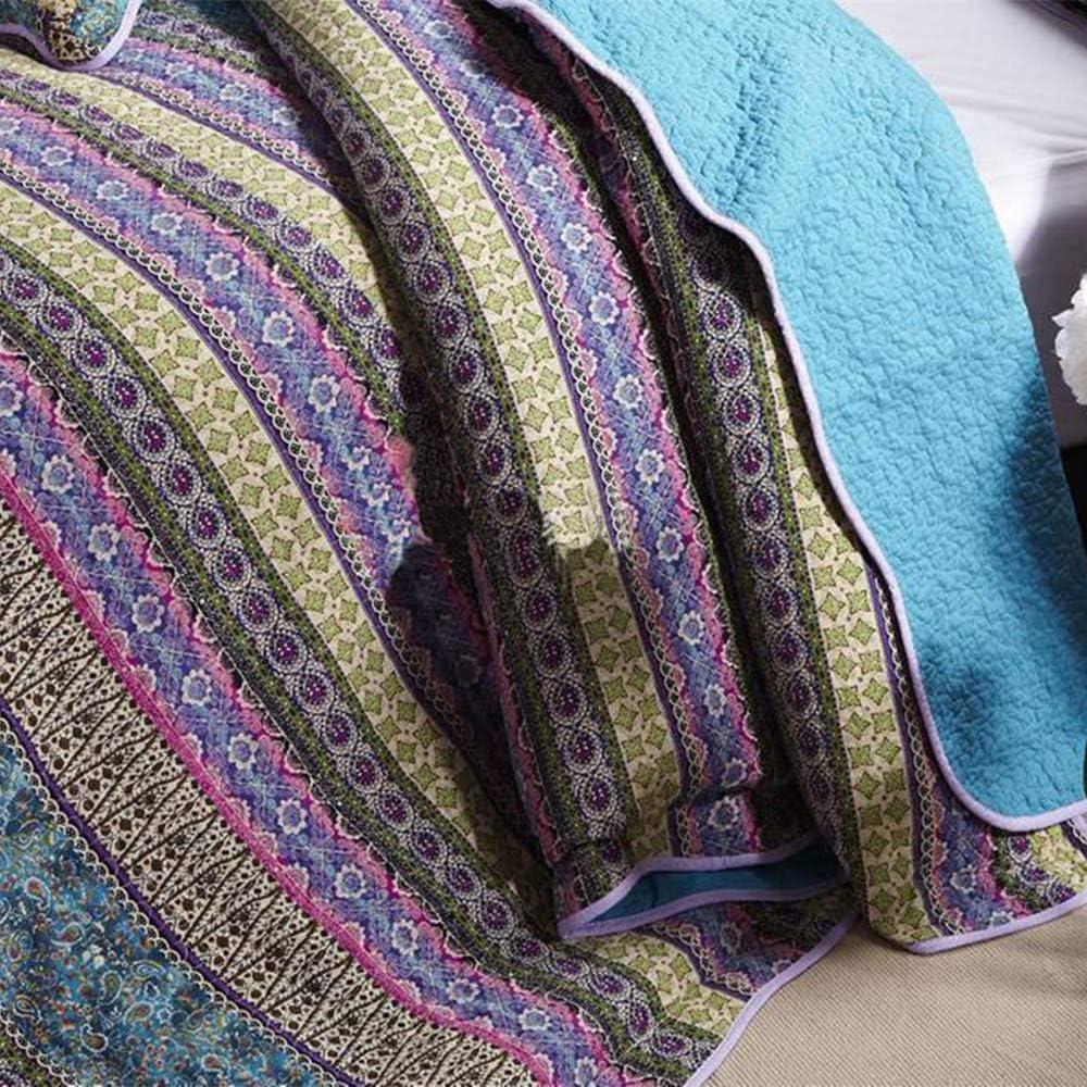 Unimall 3 Pezzi Completo Trapunta 230*250cm con Due Federe in Puro Cotone per Letto Due Piazze Matrimoniale Azzurro