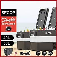 ICECO JP 40/50 Liters Portable Refrigerator Fridge Freezer, -18℃-10℃, DC 12/24V, AC 110-240V, Compact Refrigerator, 12V Camping Cooler, for Car, Truck, RV Road Trip, Van, Outdoor, Picnic, Party