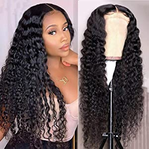Curly Human Hair Wig 4X4 Lace front Wigs Human Hair Wigs for Black Women Glueless Water Wave Wigs with Baby Hair Pre Plucked Wet and Wavy Wigs Lace Closure Wigs