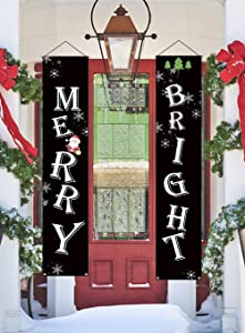 NIGHT-GRING Christmas Porch Sign, Merry Bright Porch Sign Hanging Home Indoor Outdoor Porch Wall Christmas Decoration Xmas Decor Banners
