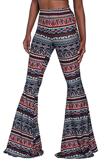c58ead3b89 Jaycargogo Women Boho Print Stretch Bell Bottom Flare Palazzo Pants Trousers  at Amazon Women s Clothing store
