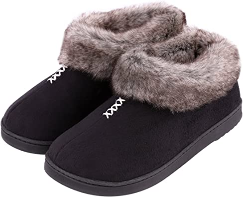 Large Tweed Knit Faux Fur Lined Womens Indoor Slippers with Rubber Sole