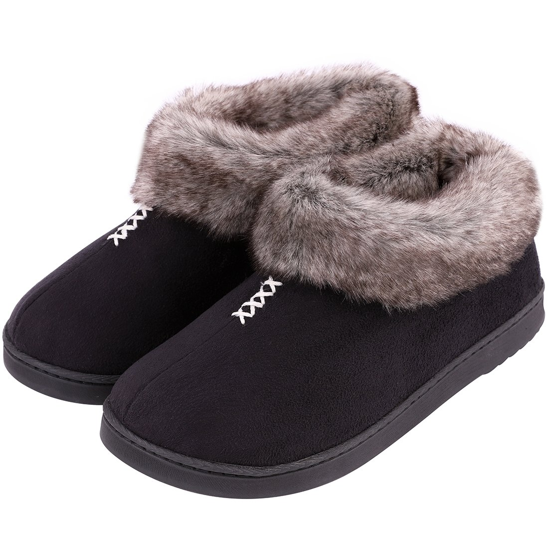 Women's Cozy Memory Foam Slippers Fluffy Micro Suede Faux Fur Fleece Lined House Shoes with Non Skid Indoor Outdoor Sole (Medium / 8 B(M) US, Black)