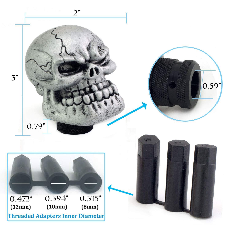 Thruifo Skull Gear Stick Shift Knob Big Teeth Devil Head Shape MT Car Shifter Fit Most Manual Automatic Vehicles Red