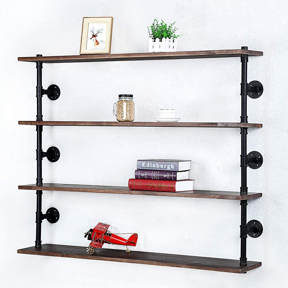 Industrial Pipe Shelf Wall Mounted,Steampunk Real Wood Book Shelves,4 Tier Rustic Metal Floating Shelves,Wall Shelving Unit Bookshelf Hanging Wall Shelves,Farmhouse Kitchen Bar Shelving(48in)