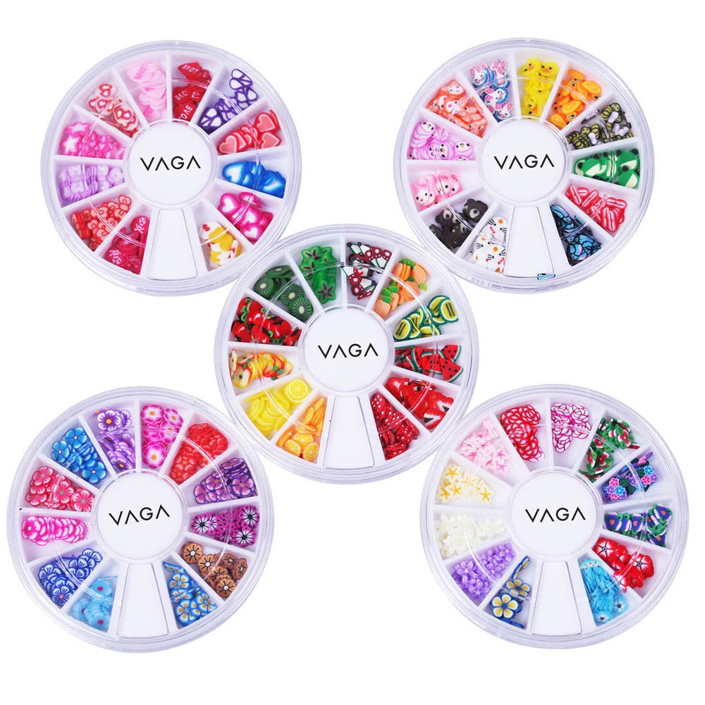 Professional Quality Set of 5 Wheels of Nail Art Fimo Slices Decal 3D Decorations In 60 Designs By VAGA 039