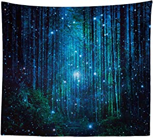Boyouth Tapestry Wall Hanging,Cartoon Dreamy Starry Forest Pattern Digital Print Wall Tapestry Home Decor for Living Room Bedroom Dorm,78.7 Inches By 59.1 Inches