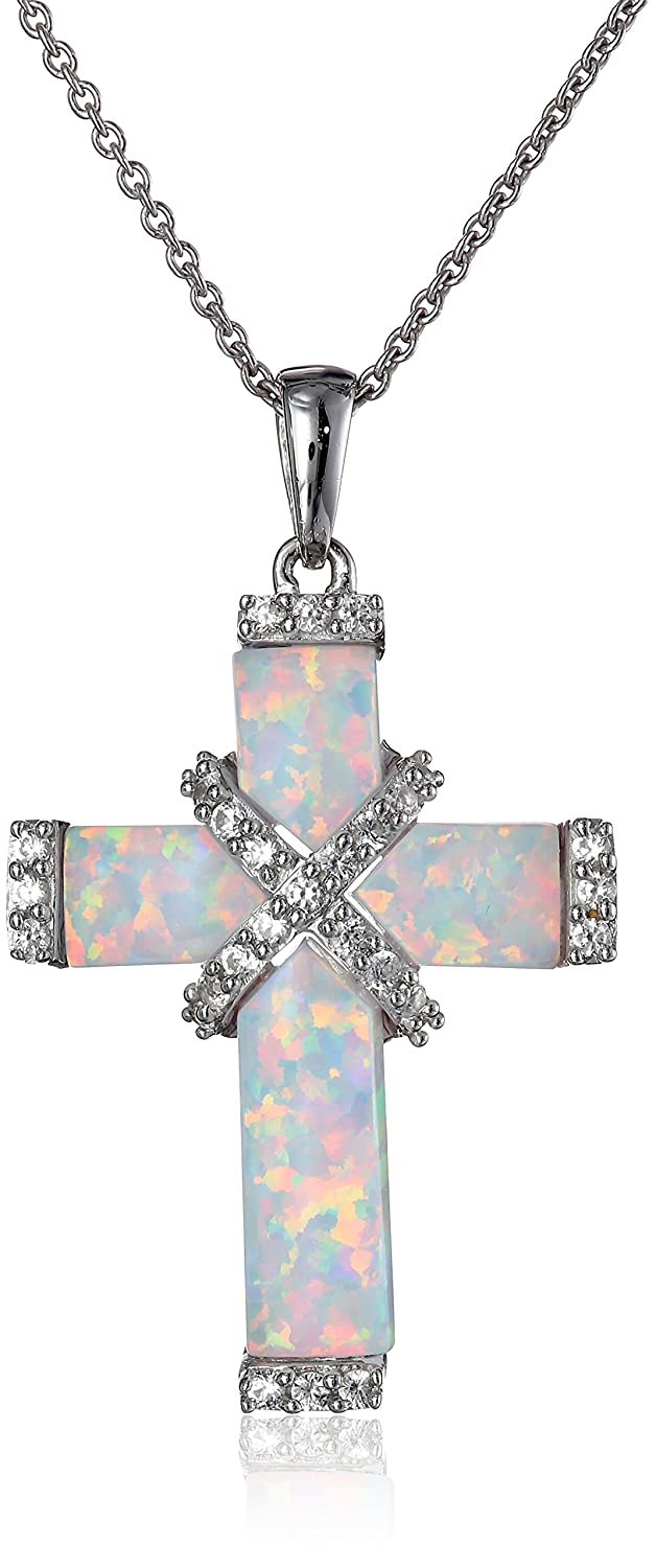18 Jewelili Sterling Silver Created Opal Cross Pendant Necklace