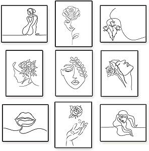 Zonon 9 Pieces Minimalist Wall Art Prints Unframed Woman Minimal Line Wall Decor 8 x 10 Inch Abstract Woman Aesthetic Poster Feminine Modern Line Art Prints for Living Room Bedroom Decor