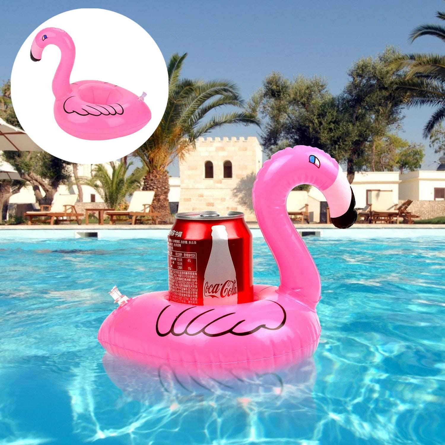 Flamingo Inflatable Drink Holder 21 Pack Drink Pool Floats Cup Holder Floats Inflatable Floating Coasters Float Coaster for Pool Party Water Fun
